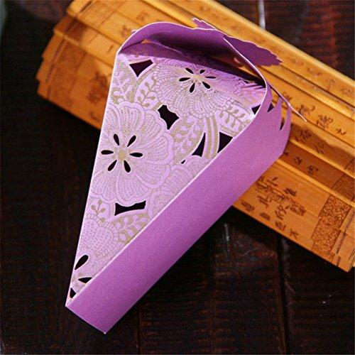 y Favor Papier Geschenk Boxen Gastgeschenk Hochzeit Boxen-Lila ()
