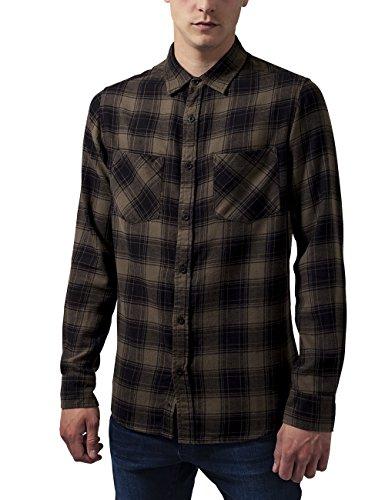 Preisvergleich Produktbild Urban Classics TB1422 Herren Regular Fit Freizeit Hemd Checked Flanell Shirt 3, Gr. Kragenweite: 41 cm (Herstellergröße: L), Mehrfarbig (blk/Olive 757)