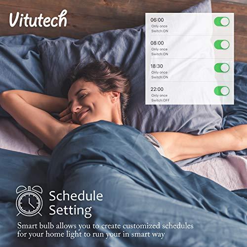 Vitutech Smart LED Lampe, Wifi Smart Birne(11W, E27) Smart Home Lampe, bunte Wlan Birne, via APP steuerbar Dimmbare, weißes und buntes Licht, kompatibel mit Google Home, Amazon Alexa Echo
