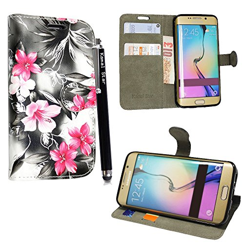 Preisvergleich Produktbild Samsung Galaxy S7 Edge Hülle Kamal Star® Hülle Lederhülle Tasche Handyhülle mit Standfunktion Card Holder Kunstleder + Stylus (Pink Flower Dark Grey Book)