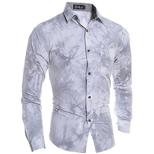Jeansian Hommes Mode Shirt Chemises Casual Manche Longue Men's Fashion Slim Fit Shirts Tops 84A0 gray