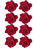 Outus 8 Pièces Pince à Cheveux Fleur Rose Epingle à Cheveux de Fleur Broche de Cheveux Fleur, Rouge