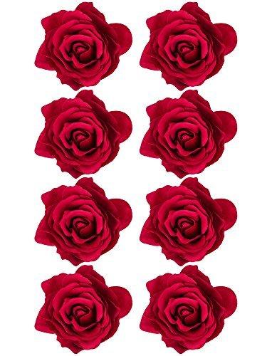 Brosche Rote Pin Blume (8 Stück Rose Blume Haarnadel Haar Clip Blume Aufstecken Blume Brosche, Rot)