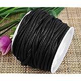 Ecloud Shop® Collier en coton ciré noir de 2 mm Collier en cordon String