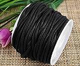 Ecloud Shop 2mm negro encerado algodón collar cordón cuerda joyería haciendo artesanía rebordear