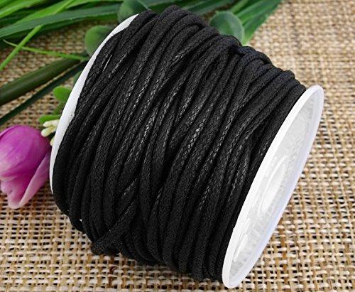 Ecloud Shop® 2mm Negro Encerado algodón Collar cordón