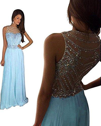 Changjie Donna Prom Dress Crystal Pink perline lungo Equipaggiata abito formale da sera Blu