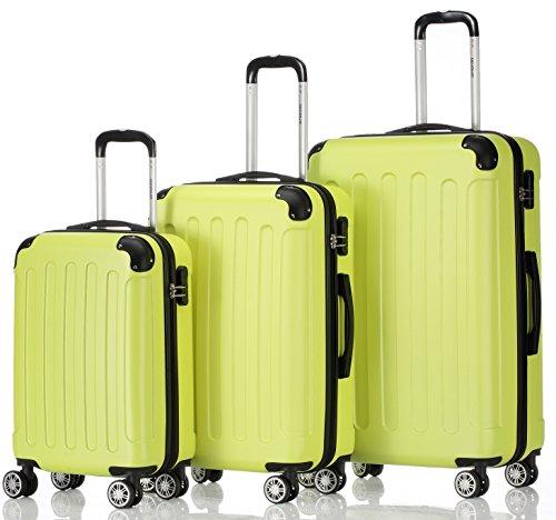 Zwillingsrollen 3 tlg.2045 neu Reisekofferset Koffer Gepäckset Kofferset Trolleys Hartschale in 14 Farben (Grün)