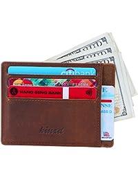 Kinzd Slim RFID Blocking Front Pocket Leather Wallet for Men Mini Card Holder