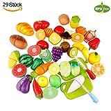 WLot 29PCS Geschnittenes Spielzeug Obst und Gemüse Spielzeug Lebensmittel Küchenspielzeug Schneiden Kinder Pädagogisches Lernen Spielzeug Rollenspiele
