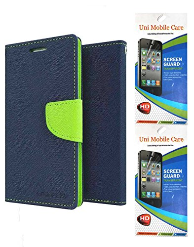 Uni Mobile Care Flip Cover + 2 Matte Screen Guard For Xiaomi Redmi 2s - Blue