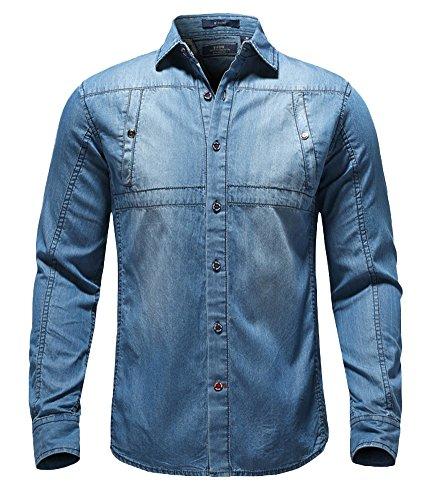 Icegrey Herren Baumwolle Denim kariert Muster Lange Ärmel Shirts, Blau, Icegrey-S8352210-2-3XL (Western-snap Denim)