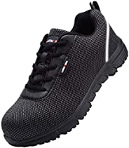 LARNMERN Steel Toe Work safety Shoes Mens Womens, Knit Breathable Lightweight Safety Shoes