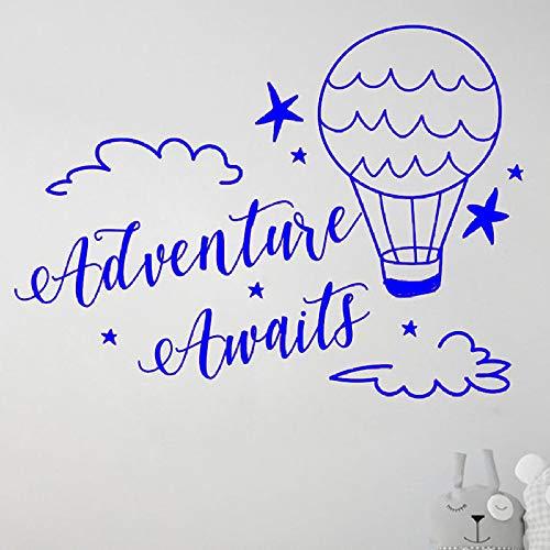 zhuziji Abenteuer erwartet Wandtattoo Kids Boys Schlafzimmer Kinderzimmer Home Decor Wolken und Heißluftballons Travel Art Vinyl Wall Stick 888-4 57x77 cm