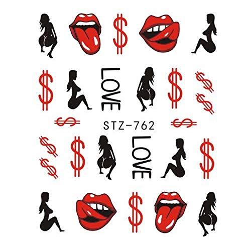 LXYQW Nail sticker 1 Stück Wassertransfer Aufkleber Cool Girl Sexy Lippen Slider Applikation Maniküre Verpackung Nail Art Tattoo Dekoration C (Cool Girl Tattoos)