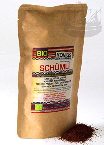 Fairtrade Kaffee Schümli, BIO, ganze Bohne, kräftig, volle Crema, 50g Probierpaket - Bremer...