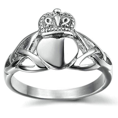 Gnzoe Uomo Acciaio inossidabile Anello Classico Geltic Knot Claddagh Anello Matrimonio Anello, Argento, Dimensioni (Oro Celtica Claddagh Croce)