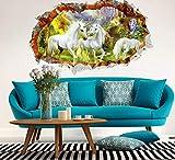 Unicorn Paradise a través de pegatinas de pared para habitaciones de niños sala de estar decoración de dibujos animados caballo blanco calcomanías de pared de arte Diy Mural efecto 3D