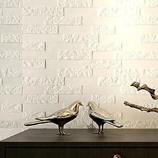 Anglewolf PE Foam 3D Wallpaper DIY Wall Stickers Wall Decor Embossed Brick Stone Adhesive (White, 60 X 60 X 0.78cm)
