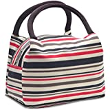 EasiTool Waterproof Insulated Lunch Tote Bag Solid Lunch Box Canvas Oxford Travel Work Picnic School Zipper Organizer Lunch Bag For Men Women Kids, Red/Black