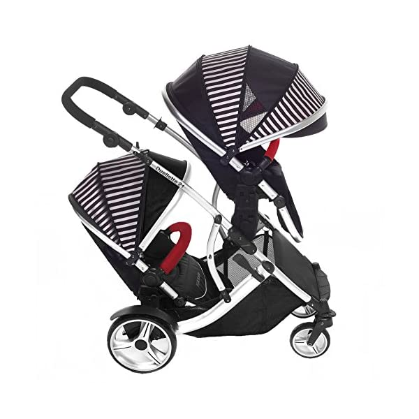 Duellette 21 BS Twin Double Pushchair Stroller Buggy Brand New Colour Range! (Oxford stripe plain bumpers) Kids Kargo Demo video please see link http://youtu.be/Ngj0yD3TMSM Various seat positions. Both seats can face mum (ideal for twins) Suitability Newborn Twins (if used with car seats) or Newborn/toddler. Accommodates 1 or 2 car seats 2