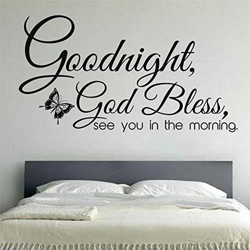 wlwhaoo Goodnight God Bless Big Wandaufkleber Wohnkultur Abnehmbare Schmetterlinge Wandtattoo Wohnzimmer Schlafzimmer Dekoration gelb 108x58cm - Home-securi