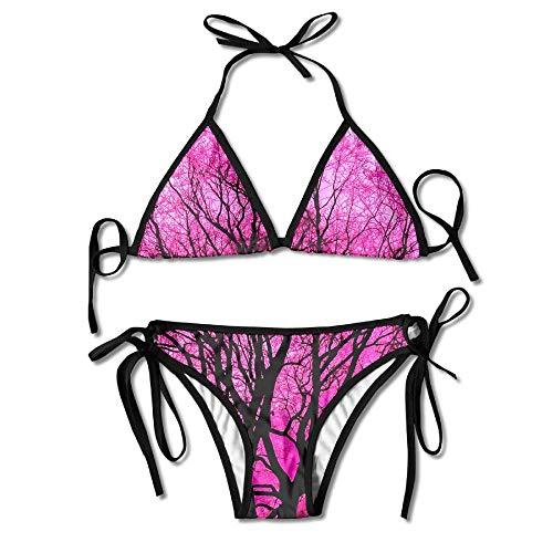 Pink Tree Women's Two-Piece Suits Bikini Beach Bathing Swimsuit -