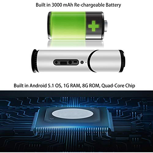 Salange Smart Android Portable Video Projector with Android5 1 3000 mAh Rechargeable Battery Bluetooth Speaker 1G RAM 8G ROM