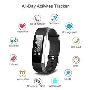 Pulsera Actividad,Monitor de Frecuencia Cardiáco,Pulsera Reloj Inteligente con Pulsómetro Impermeable,Podómetro,Monitor de Ritmo Cardíaco,Sueño,GPS para Android y IOS hombre mujer niños - iPosible