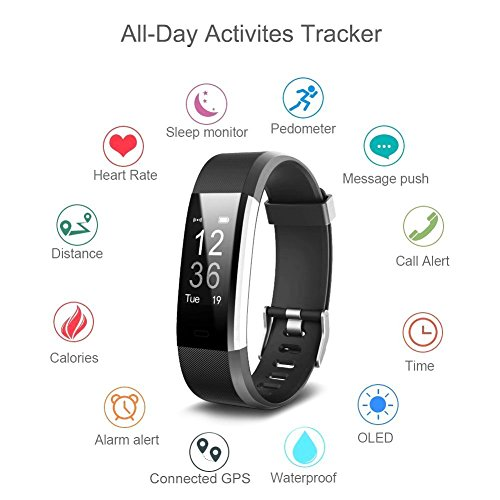 Fitness Tracker IPosible Activity Tracker Heart Rate Monitor Smart Bracelet Bluetooth Pedometer With Sleep Monitor Steps Counter GPS Smartwatch For IPhone Samsung Android Or IOS Smartphones For Women