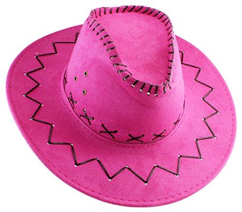 GYD Cowboy Hut Pink für Erwachsene Wildlederoptik Western Kostüm