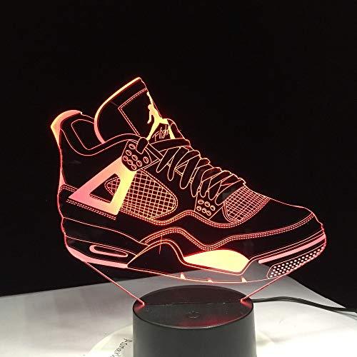 weiaikeke Regalo per Bambini Lampada da Tennis 3D Lampada da Tavolo a LED Scarpe Luminose per Bambini Giocattoli Ragazzi Ragazze Bambino 7 Colori Lampeggianti Luci Dropship Gratuito