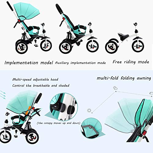 QXMEI 3 In 1 Childrens Tricycles 12 Months To 6 Years 3-Point Safety Belt Blockable Rear Wheels Child Trike Adjustable Handle Bar Folding Sun Canopy Child Trike Maximum Weight 25 Kg,Pink  QXMEI