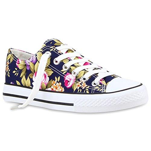 Stiefelparadies Damen Sneakers Turn Freizeit Low Sneaker Übergrößen Prints Glitzer Denim Schuhe 118915 Dunkelblau Blumen 37 Flandell