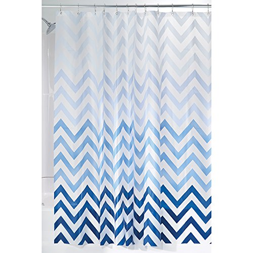 mDesign – Cortina de ducha con estampado de zigzag – Accesorio de baño con medidas perfectas (183 cm x 183 cm) – Cortinas de baño de calidad de color azul