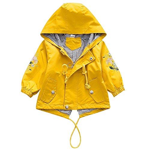 Übergangsjacke Kapuzenjacke Kinder Prinzessin Blume Frühling Herbst Outwear Oberbekleidung Gelb 110 ()