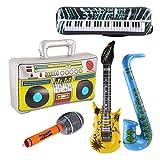 Toyvian Conjunto de Juguete de Instrumentos Musicales inflables - Guitarra, Boom Box, Teclado de Piano, Saxofón, Micrófono, 5Pack Suministros de Fiesta de Estrella de Rock