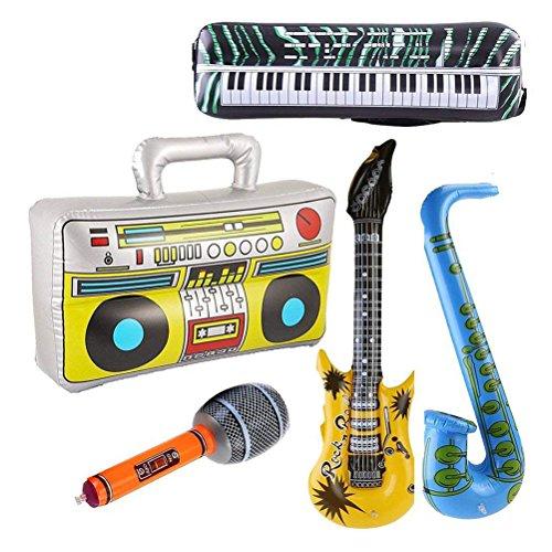 Toyvian Aufblasbare Rock Star Spielzeug - Gitarre, Mikrofon, Saxophon, Tastatur Klavier, Redner