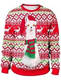 Lomire Noël Sweat-Shirt Fantaisie, Sweat-Shirt Imprimé Créatif Unisexe, Sweater Oversize Sportif Chaud en Hiver, Noël T-Shirt de Sport Grande Taille Col Rond Manche Longue pour Hommes Femmes