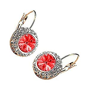 18K Rose Gold Plated, Ruby Red Evil Eye Surrounded with Clear Pave Set Crystal Elements, Fashion Round Leverback Earrings, 25mm X 15mm