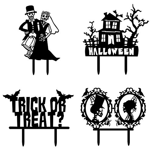 r Kit, Designerbox 4 Stück Halloween Zombie Ghost Silhouette Skelett Cameo Happy Birthday Kuchen Topper Geburtstag Cupcake Deko Hochzeit Party Supplies Ghost theme (Hochzeitstorte Schneiden Set)