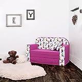 LULANDO Classic Kindersofa Kindercouch Kindersessel Sofa Bettfunktion Kindermöbel zum Schlafen und Spielen, Farbe: Papagei