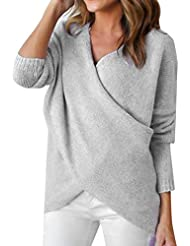 Womens V Neck Knitted Jumpers For Women Oversized Cross Wrap Knit Jumper Sweater For Ladies Casual Loose Long Sleeve Knitwear Sweaters Warm Jumpers Fall Winter