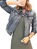 IWFREE Damen Jeansjacke Mantel Denim Jacke Jeans Fashion Streetwear Swag Revers Mit Taschen Casual Locker Löcher Outdoorjacke Coat Blusen