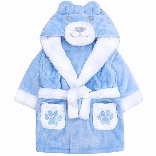 Baby Bademantel Kinderbademantel für Jungen in blau mit 3D Teddy Motiv kuschelweich