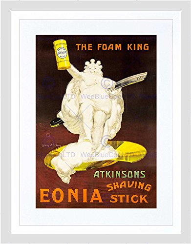 AD ATKINSONS EONIA SHAVING STICK FOAM KING VINTAGE RAZOR FRAMED PRINT B12X6680
