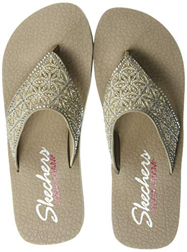 Skechers Damen Vinyasa-Glass Star Sandalen, Beige (Taupe TPE), 41 EU Cut-out Wedge Sandals