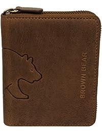 Brown Bear Linkshänder Geldbörse Leder braun Reißverschluss 0652 br