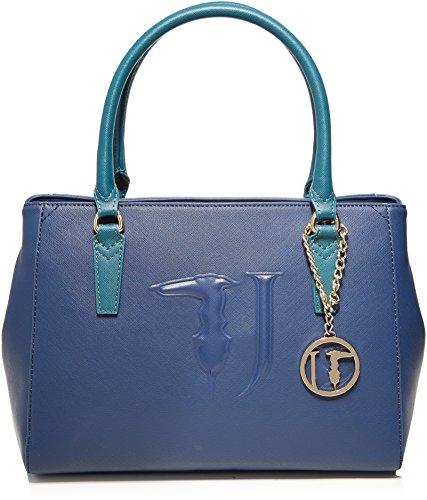 Trussardi Jeans Ischia Ecoleather Tote Medium Bag, Sacs portés main femme, Bleu (Blue Green), 35x40x16 cm (W x H L)