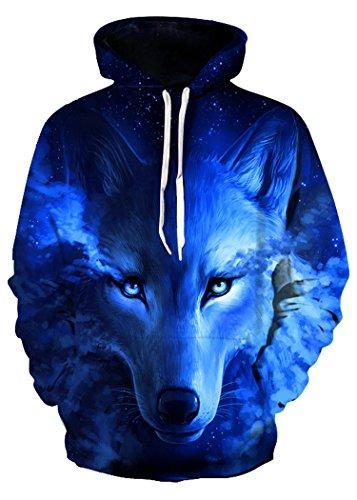 ALICECOCO Herren/Damen Unisex 3D Druck Galaxy Wolf Kapuzenpullover Tops Fashion Hoodie Pullover Sweatshirt (Wolf Dunkelblau, Größe L / XL)